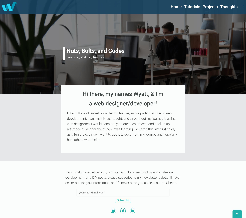 A screenshot of my personal blog design circa 2017